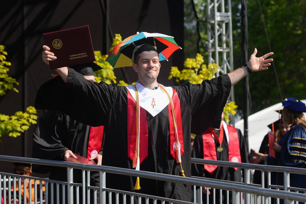 . Alva Alfred McKay celebrates during the Chico State University College of Natural Sciences and College of Engineering, Computer Science & Construction Management Commencement, May 19, 2018,  in Chico, California. (Carin Dorghalli -- Enterprise-Record)