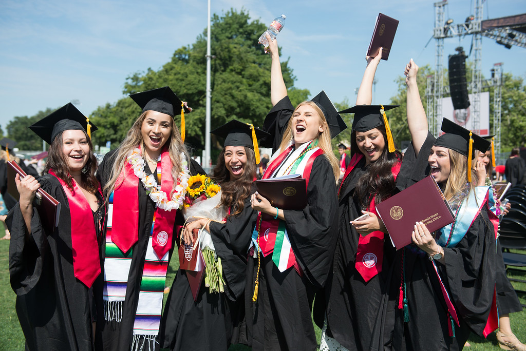 . Graduates celebrate during the Chico State University College of Natural Sciences and College of Engineering, Computer Science & Construction Management Commencement, May 19, 2018,  in Chico, California. (Carin Dorghalli -- Enterprise-Record)