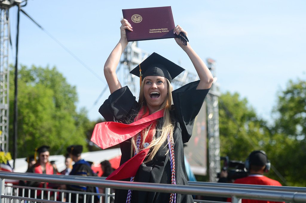 . Sarah Wehan celebrates during the Chico State University College of Natural Sciences and College of Engineering, Computer Science & Construction Management Commencement, May 19, 2018,  in Chico, California. (Carin Dorghalli -- Enterprise-Record)
