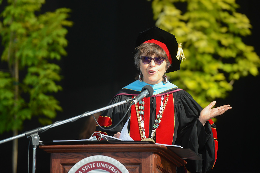 . President Gayle Hutchinson speaks during the Chico State University College of Natural Sciences and College of Engineering, Computer Science & Construction Management Commencement, May 19, 2018,  in Chico, California. (Carin Dorghalli -- Enterprise-Record)