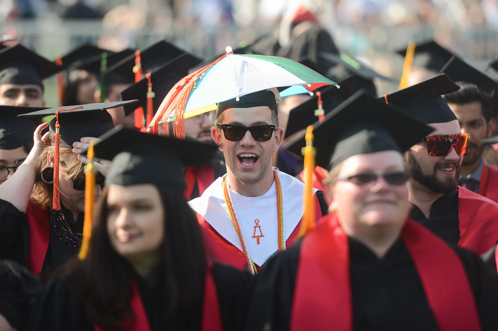 . Alva Alfred McKay wears a fun cap to the Chico State University College of Natural Sciences and College of Engineering, Computer Science & Construction Management Commencement, May 19, 2018,  in Chico, California. (Carin Dorghalli -- Enterprise-Record)