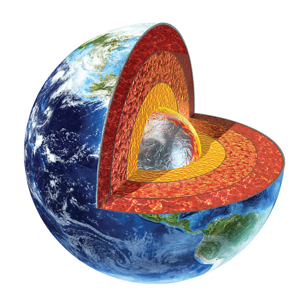 Earth cross section. Inner core version.