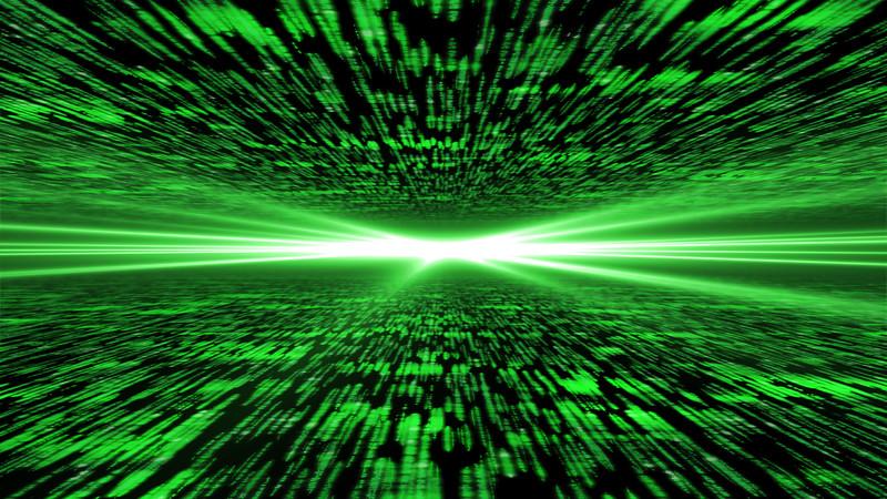 matrix 3d - flying through energized cyberspace, light on the horizon