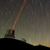 Telescope in Hawaii using a red laser guide star.
