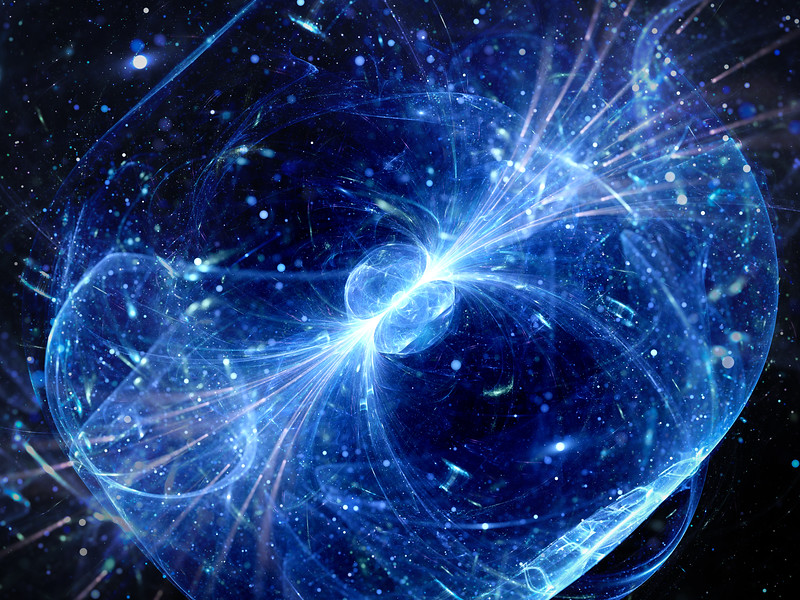 Blue glowing gravitaional wave with gamma ray force field background