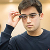 Jonathan Blades tries on a pair of Google Glasses at the iCore Labs in TAMUCC.