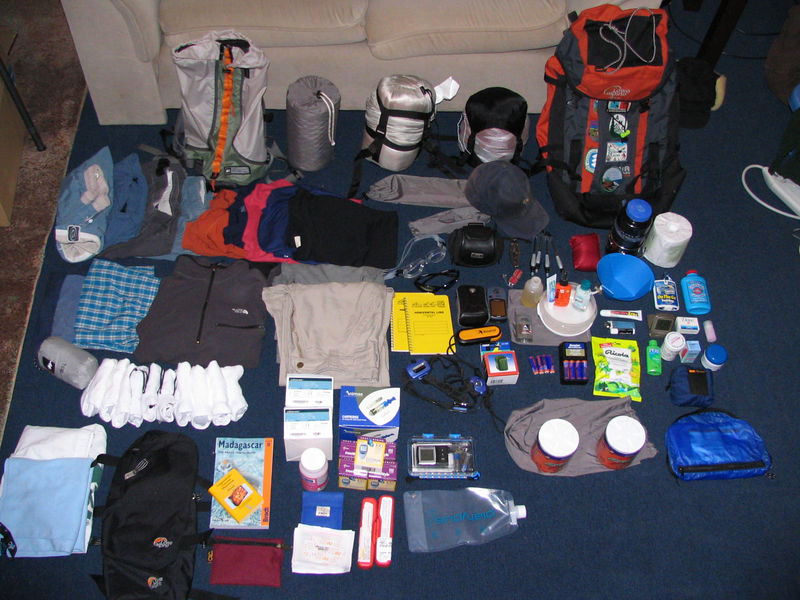 Everything I packed for the trip. The only things I didn't use and got rid of were the second bathing suit and the hat. I actually could have done without the sleeping bag also, but I kept that of course.