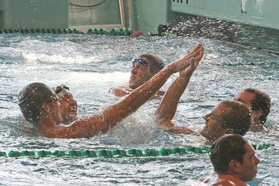 Cuesta mens 200 free relay winning celebration