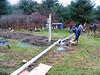 The gin pole (close) and the turbine pole (farther)