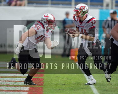 Western Kentucky Hilltoppers quarterback Mike White (14) hands off the ball during the football  game between the visiting Western Kentucky Hilltoppers  and the FAU Owls on October 29, 2016  ( Joe Petro, The Skyboat )