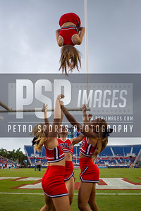 FAU cheerleaders during the football game between the visiting Western Kentucky Hilltoppers and the FAU Owls on October 29, 2016. ( Allison Petro, The Skyboat )
