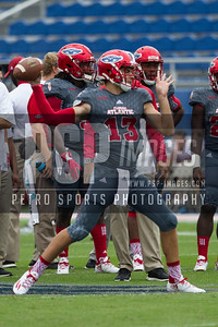 Florida Atlantic Owls quarterback Daniel Parr (13) before the football game between the visiting Western Kentucky Hilltoppers and the FAU Owls on October 29, 2016. ( Allison Petro, The Skyboat )