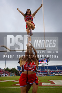 FAU cheerleaders performing a stunt during the football game between the visiting Western Kentucky Hilltoppers and the FAU Owls on October 29, 2016. ( Allison Petro, The Skyboat )