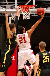U of U MBB vs Oregon 3-9-2013. Jordan Loveridge (21)