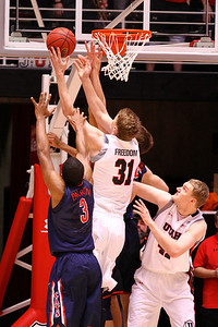 U of U MBB vs Arizona 2-17-2013. Dallin Bachynski (31)