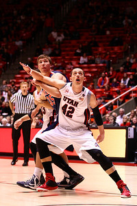 U of U MBB vs Arizona 2-17-2013. Jason Washburn (42)