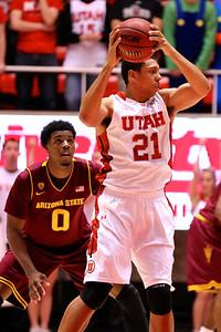 U of U MBB vs Arizona St. 2-13-2013. Jordan Loveridge (21)