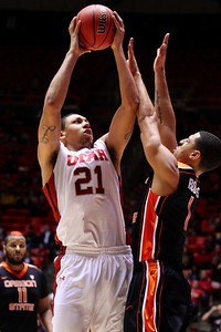 U of U MBB vs Oregon State 3-7-2013. Jordan Loveridge (21)