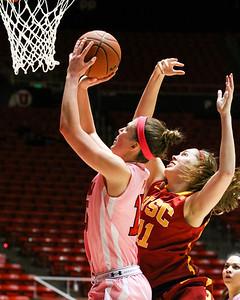 University of Utah Women's Basketball vs USC. 02-27-2014. Utah loses to USC 57-67.