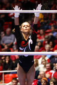 U of U Gymnastics Meet 1-19-2013. Breanna Hughes (Bars)