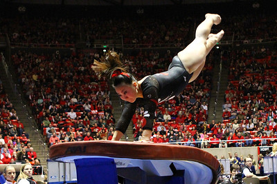 U of U Gymnastics Meet 1-19-2013. Corrie Lothrop (Vault)