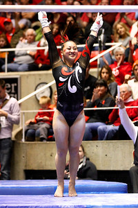 U of U Gymnastics Meet 1-19-2013. Corrie Lothrop (Bars)