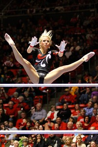 U of U Gymnastics Meet 1-19-2013. Hailee Hansen (Bars)