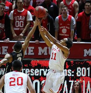 University of Utah Men's Basketball vs Colorado on 01-07-2015 at the Jon M Huntsman Center. The Utes defeat the Buffaloes 74-49.
