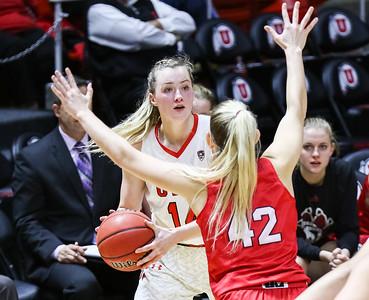 University of Utah Women's Basketball vs South Dakota at Jon M. Huntsman Center 11-13-2015. The Lady Utes defeat the Coyotes 66-59.  ©2015 Bryan Byerly