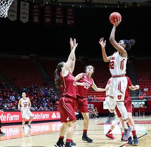 University of Utah Women's Basketball vs Washington State at Jon M. Huntsman Center 01-02-2016. The Lady Utes defeat the Cougars 73-71.    ©2016 Bryan Byerly