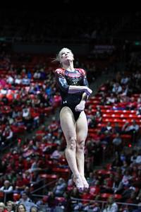 University of Utah Gymnastics vs SUU, BSU, UC Davis on 01-16-2015 at the Jon M Huntsman Center. Red Rocks win with a score of 196.675.
