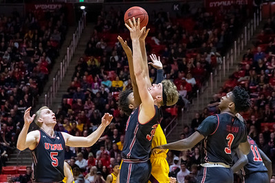 University of Utah vs Arizona State in Salt Lake City at Jon M. Huntsman Center. 02-16-2019. The Utes lose to the Sun Devils 87-98. ©2019 Bryan Byerly