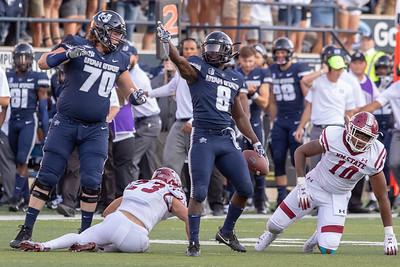 Utah State vs New Mexico State at Maverik Stadium in Logan, UT 09-08-2018. The USU Aggies defeat the New Mexico ST Aggies 60-13. ©2018 Bryan Byerly