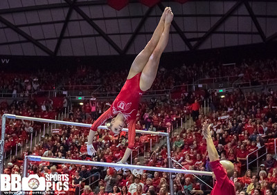 University of Utah Gymnastics vs BYU at the Jon M. Huntsman Center on 01-05-2018. The Red Rocks defeat the Cougars 197.000 - 194.275. #goutes  #Pac12Gym  #RedRocks  #Flip4U   ©2018  Bryan Byerly