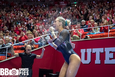 University of Utah Gymnastics vs Washington at the Jon M. Huntsman Center on 02-03-2018. The Red Rocks defeat the Huskies 197.700 - 196.250. #goutes  #Pac12Gym  #RedRocks  #Flip4U   ©2018  Bryan Byerly