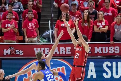 Salt Lake City, UT - Wednesday December 04, 2019: College Mens Basketball. BYU vs University of Utah at Jon M. Huntsman Center.  ©2019 Bryan Byerly