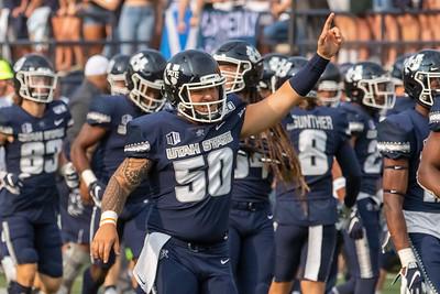 Logan, UT - Saturday September 07, 2019: College Football. Utah State University vs Stony Brook. ©2019 Bryan Byerly