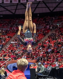 Utah Gymnastics versus Arizona in Salt Lake CIty at the Jon M. Huntsman Center. 02-01-2019. The Red Rocks defeat the Wildcats 197.075 - 195.400. ©2019 Bryan Byerly