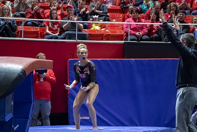 Utah Gymnastics versus California in Salt Lake CIty at the Jon M. Huntsman Center. 02-09-2019. The Red Rocks defeat the Golden Bears 197.150 - 196.225. ©2019 Bryan Byerly