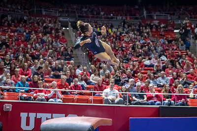 Utah Gymnastics vs Michigan in Salt Lake City at the Jon M. Huntsman Center. 02-02-2019. The Red Rocks defeat the Wolverines 197.975 - 197.350 ©2019 Bryan Byerly