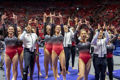 Utah Gymnastics versus Penn State in Salt Lake CIty at the Jon M. Huntsman Center. 01-05-2019. The Red Rocks defeat the Nittany Lions 197.175 - 194.450. ©2019 Bryan Byerly