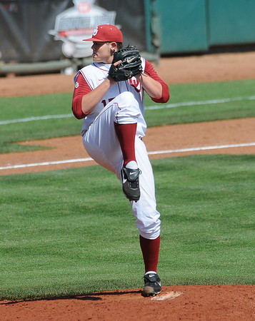 """Oklahoma reliever Steven Okert throws to an Oklahoma State batter Wednesday, May 22, 2012, in the opening round of the Big 12 championship at the Chickasaw Bricktown Ballpark. Additional photos can be viewed here <a href=""""http://photos.NormanTranscript.com/College"""">http://photos.NormanTranscript.com/College</a> Sports Jerry Laizure/The Transcript"""