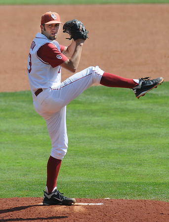 """Oklahoma starter Dillon Overton throws to an Oklahoma State batter Wednesday, May 22, 2012, in the opening round of the Big 12 championship at the Chickasaw Bricktown Ballpark. Additional photos can be viewed here <a href=""""http://photos.NormanTranscript.com/College"""">http://photos.NormanTranscript.com/College</a> Sports Jerry Laizure/The Transcript"""