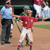 Oklahoma's Erik Ross (6) signals safe on Evan Mistich's infield single  after scoring what turned out to be the winning run against BaylorThursday, May 24, 2012, in the second round of the Big 12 championship at the Chickasaw Bricktown Ballpark. Jerry Laizure/The Transcript
