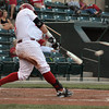 OU's Cody Riene makes contact with the ball Thursday during his turn at bat during the Sooners' game against the Samford at L. Dale Mitchell Park.  For more photos from the game visit Photos.NormanTranscript.com<br /> Kyle Phillips/The Transcript