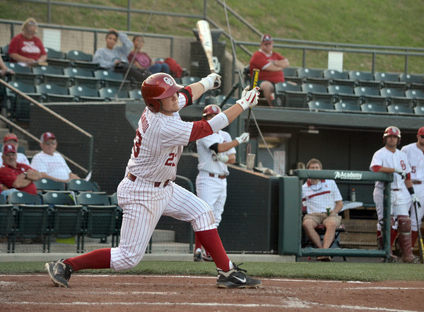 OU's Hunter Lockwood strikes out swinging Thursday during the Sooners' game against Samford at L. Dale Mitchell Park.  For more photos from the game visit Photos.NormanTranscript.com<br /> Kyle Phillips/The Transcript