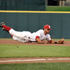 OU infielder Jack Mayfield makes a diving catch, snagging the out Thursday during the Sooners' game against the Samford at L. Dale Mitchell Park.  For more photos from the game visit Photos.NormanTranscript.com<br /> Kyle Phillips/The Transcript