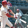 OU's Garrett Carey makes contact with the ball during his turn at bat during the Sooners' game against Samford Saturday at L. Dale Mitchell Park.<br /> Kyle Phillips/The Transcript