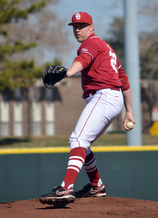 OU's Jonathan Gray pitches to a Pepperdine batter Saturday during the Sooners' game agaisnt the Waves at L. Dale Mitchell Park.<br /> Kyle Phillips/The Transcript