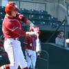 Oklahoma infielder 	Kolbey Carpenter makes contact with the ball during as he takes his cuts Tuesday during the Sooners' game against Arkansas Pine Bluff at L. Dale Mitchell Park.<br /> Kyle Phillips/The Transcript